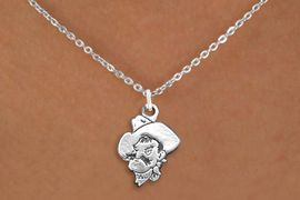 """<BR>WHOLESALE OPKLAHOMA STATE JEWELRY<Br>              LEAD & NICKEL FREE!! <Br>        OFFICIALLY LICENSED ITEM!! <bR> W20241N - LICENSED OKLAHOMA STATE <Br> UNIVERSITY """"COWBOYS"""" LOGO NECKLACE <Br>               FROM $3.94 TO $8.75"""