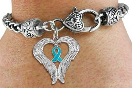 <BR>      WHOLESALE OVARIAN CANCER JEWELRY<bR>               EXCLUSIVELY OURS!! <BR>             LEAD & NICKEL FREE!!<BR>W19694B - GUARDIAN ANGEL WINGS <Br>AND TEAL AWARENESS RIBBON <BR>CHARM & HEART CLASP BRACELET <BR>     FROM $6.19 TO $13.75 �2012