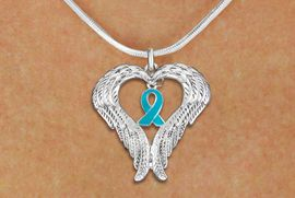 <BR>      WHOLESALE OVARIAN CANCER JEWELRY<bR>               EXCLUSIVELY OURS!! <BR>             LEAD & NICKEL FREE!!<BR>W19695N - GUARDIAN ANGEL WINGS <Br>AND TEAL AWARENESS RIBBON <BR>CHARM & SNAKE CHAIN NECKLACE <BR>     FROM $5.63 TO $12.50 �2012