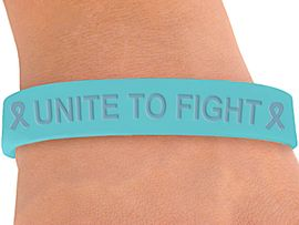 """<BR>      WHOLESALE OVARIAN CANCER JEWELRY<BR>W4262JB - ORIGINAL """"UNITE TO FIGHT""""<BR>          TEAL AWARENESS JELLY BAND<BR>      BRACELET&#169;2004 AS LOW AS $.29<BR>  WE ARE THE ONLY MANUFACTURER OF<BR>                         THIS BRACELET!"""