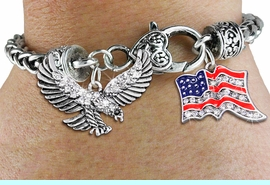 <BR>      WHOLESALE PATRIOTIC JEWELRY<bR>                   EXCLUSIVELY OURS!!<BR>             AN ALLAN ROBIN DESIGN!!<BR>     CADMIUM, LEAD & NICKEL FREE!! <BR>W19816B - SILVER TONE FLYING EAGLE <BR>AND PATRIOTIC AMERICAN FLAG CRYSTAL <BR>  CHARMS ON HEART CLASP BRACELET <BR>         FROM $7.85 TO $17.50 �2012