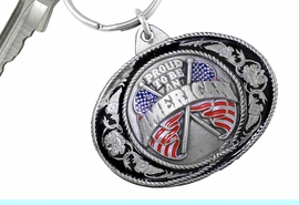 """<Br>      WHOLESALE PATRIOTIC KEY CHAINS <BR>               LEAD & NICKEL FREE!! <Br> W20508KC - """"PROUD TO BE AN AMERICAN"""" <Br> PEWTER, RED AND BLUE ENAMEL KEY CHAIN <Br>         FROM $4.73 TO $10.50 �2013"""