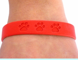 <BR>      WHOLESALE PAW JEWELRY<bR>      EXCLUSIVELY OURS!!<Br> W4566JPB - BRIGHT RED<BR>SCHOOL SPIRIT PAW JELLY<br> BRACELETS&#169;2004 FROM<Br>              $.97 TO $5.00