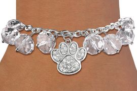 <BR>        WHOLESALE PAW PRINT BRACELET!! <bR>                    EXCLUSIVELY OURS!! <Br>               AN ALLAN ROBIN DESIGN!! <BR>         LEAD, NICKEL & CADMIUM FREE!! <BR>  W20628B - SILVER TONE PAW WITH CLEAR <BR>  CRYSTAL CHARM & CLEAR CRYSTAL TOGGLE <BR>   BRACELET FROM $9.56 TO $21.25 �2013