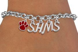 <br> WHOLESALE PAW SCHOOL BRACELET<Br>                    EXCLUSIVELY OURS!!<Br>              AN ALLAN ROBIN DESIGN!!<Br>                   LEAD & NICKEL FREE!! <BR>         THIS IS A PERSONALIZED ITEM <Br>  W20092B - SILVER TONE LOBSTER CLASP <BR>     CUSTOM CHARM BRACELET WITH YOUR <BR> MIDDLE SCHOOL INITIALS, AND COLOR PAW <BR>          FROM $6.19 TO $13.75 �2013