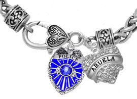 """<Br>              WHOLESALE POLICE CRYSTAL JEWELRY  <BR>                         AN ALLAN ROBIN DESIGN!! <Br>                   CADMIUM, LEAD & NICKEL FREE!!  <Br>         W1329-1759B1  """"I LOVE YOU ABUELA"""" HEART  <BR>      CHARMS ON HEART LOBSTER CLASP BRACELET <BR>                     FROM $9.73 TO $14.58 �2016"""