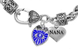 """<Br>              WHOLESALE POLICE CRYSTAL JEWELRY  <BR>                         AN ALLAN ROBIN DESIGN!! <Br>                   CADMIUM, LEAD & NICKEL FREE!!  <Br>         W1329-1827B1  """"I LOVE YOU NANA"""" HEART  <BR>      CHARMS ON HEART LOBSTER CLASP BRACELET <BR>                     FROM $7.50 TO $9.50 �2016"""