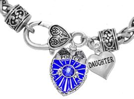 """<Br>              WHOLESALE POLICE CRYSTAL JEWELRY  <BR>                         AN ALLAN ROBIN DESIGN!! <Br>                   CADMIUM, LEAD & NICKEL FREE!!  <Br>         W1329-1831B1  """"I LOVE YOU DAUGHTER"""" HEART  <BR>      CHARMS ON HEART LOBSTER CLASP BRACELET <BR>                     FROM $7.50 TO $9.50 �2016"""