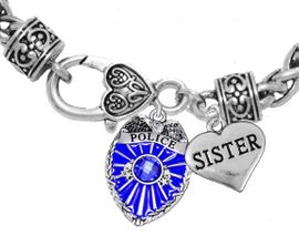 """<Br>              WHOLESALE POLICE CRYSTAL JEWELRY  <BR>                         AN ALLAN ROBIN DESIGN!! <Br>                   CADMIUM, LEAD & NICKEL FREE!!  <Br>         W1329-1833B1  """"I LOVE YOU SISTER"""" HEART  <BR>      CHARMS ON HEART LOBSTER CLASP BRACELET <BR>                     FROM $7.50 TO $9.50 �2016"""