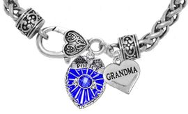 """<Br>              WHOLESALE POLICE CRYSTAL JEWELRY  <BR>                         AN ALLAN ROBIN DESIGN!! <Br>                   CADMIUM, LEAD & NICKEL FREE!!  <Br>         W1329-1832B1  """"I LOVE YOU GRANDMA"""" HEART  <BR>      CHARMS ON HEART LOBSTER CLASP BRACELET <BR>                     FROM $7.50 TO $9.50 �2016"""