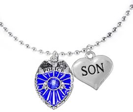 """<Br>                           WHOLESALE POLICE JEWELRY  <BR>                             AN ALLAN ROBIN DESIGN!! <Br>                    CADMIUM, LEAD & NICKEL FREE!!  <Br>           W1329-1830N5  I LOVE YOU """" SON"""" HEART  <BR>         CHARMS ON ADJUSTABLE CHAIN NECKLACE<BR>                      FROM $7.50 TO $9.50 �2016"""