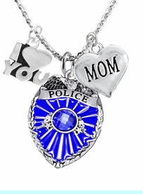 """<Br>                           WHOLESALE POLICE JEWELRY  <BR>                             AN ALLAN ROBIN DESIGN!! <Br>                    CADMIUM, LEAD & NICKEL FREE!!  <Br>W1329-380-1837N1  I LOVE YOU AND """" MOM"""" HEART  <BR>         CHARMS ON ADJUSTABLE CHAIN NECKLACE<BR>                           FROM $7.50 TO $9.50 �2016"""