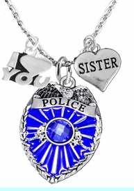 """<Br>                           WHOLESALE POLICE JEWELRY  <BR>                             AN ALLAN ROBIN DESIGN!! <Br>                    CADMIUM, LEAD & NICKEL FREE!!  <Br>W1329-380-1833N1  I LOVE YOU """" SISTER"""" HEART  <BR>         CHARMS ON ADJUSTABLE CHAIN NECKLACE<BR>                      FROM $7.50 TO $9.50 �2016"""