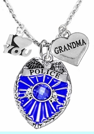 """<Br>                                 WHOLESALE POLICE JEWELRY  <BR>                                   AN ALLAN ROBIN DESIGN!! <Br>                          CADMIUM, LEAD & NICKEL FREE!!  <Br>      W1329-380-1832N1  I LOVE YOU """" GRANDMA"""" HEART  <BR>                  CHARMS ON ADJUSTABLE CHAIN NECKLACE<BR>                               FROM $7.50 TO $9.50 �2016"""