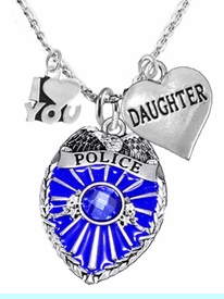 """<Br>                           WHOLESALE POLICE JEWELRY  <BR>                             AN ALLAN ROBIN DESIGN!! <Br>                    CADMIUM, LEAD & NICKEL FREE!!  <Br>  W1329-380-1831N1  I LOVE YOU """" DAUGHTER"""" HEART  <BR>         CHARMS ON ADJUSTABLE CHAIN NECKLACE<BR>                      FROM $7.50 TO $9.50 �2016"""