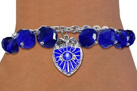 <BR>              WHOLESALE POLICE JEWELRY!! <bR>                  EXCLUSIVELY OURS!! <Br>             AN ALLAN ROBIN DESIGN!! <BR>       LEAD, NICKEL & CADMIUM FREE!! <BR>     W20325B - POLICE SHIELD / BADGE <BR> CRYSTAL CHARM & BLUE CRYSTAL TOGGLE <BR> BRACELET FROM $9.56 TO $21.25 �2013