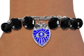 <BR>              WHOLESALE POLICE JEWELRY!! <bR>                  EXCLUSIVELY OURS!! <Br>             AN ALLAN ROBIN DESIGN!! <BR>       LEAD, NICKEL & CADMIUM FREE!! <BR>     W20326B - POLICE SHIELD / BADGE <BR> CRYSTAL CHARM & BLACK CRYSTAL TOGGLE <BR> BRACELET FROM $9.56 TO $21.25 �2013