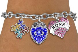 """<BR>      WHOLESALE POLICE JEWELRY<bR>             LEAD & NICKEL FREE!! <BR> LARGE, BEAUTIFUL, CRYSTAL CHARMS <BR> W20248B - CRYSTAL POLICE BADGE, """"HOPE"""" <BR> HEART, AND AUSTISM AWARENESS PUZZLE <BR>  CHARMS ON TOGGLE CLASP BRACELET <BR>      FROM $9.56 TO $21.25 �2013"""