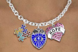 """<BR>      WHOLESALE POLICE JEWELRY<bR>             LEAD & NICKEL FREE!! <BR> LARGE, BEAUTIFUL, CRYSTAL CHARMS <BR> W20249N - CRYSTAL POLICE BADGE, """"HOPE"""" <BR> HEART, AND AUSTISM AWARENESS PUZZLE <BR>  CHARMS ON TOGGLE CLASP NECKLACE <BR>      FROM $11.81 TO $26.25 �2013"""