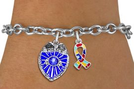 <BR>        WHOLESALE POLICE JEWELRY <bR>            LEAD & NICKEL FREE!! <BR> W20327B - POLICE BADGE / SHIELD &<BR>  AUTISM AWARENESS RIBBON CHARMS <BR>        ON TOGGLE CLASP BRACELET <BR>      FROM $5.06 TO $11.25 �2013