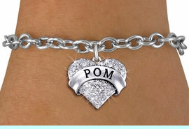 """<BR>      WHOLESALE POM BRACELET<bR>                EXCLUSIVELY OURS!! <Br>           AN ALLAN ROBIN DESIGN!! <BR>  CLICK HERE TO SEE 1000+ EXCITING <BR>        CHANGES THAT YOU CAN MAKE! <BR>     LEAD, NICKEL & CADMIUM FREE!! <BR> W1411SB - SILVER TONE """"POM"""" CLEAR <BR>    CRYSTAL HEART CHARM & BRACELET <BR>         FROM $5.40 TO $9.85 �2013"""