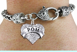 """<BR>      WHOLESALE POM BRACELET<bR>             EXCLUSIVELY OURS!! <BR>        AN ALLAN ROBIN DESIGN!! <BR>           LEAD & NICKEL FREE!! <BR>    W1411SB - SILVER TONE """"POM"""" <BR>   CLEAR CRYSTAL HEART CHARM ON <BR>   HEART LOBSTER CLASP BRACELET <Br>     FROM $5.63 TO $12.50 �2013"""