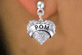 "<BR>      WHOLESALE POM EARRING<bR>              EXCLUSIVELY OURS!! <Br>         AN ALLAN ROBIN DESIGN!! <BR>   LEAD, NICKEL & CADMIUM FREE!! <BR> W1411SE - SILVER TONE ""POM"" CLEAR <BR>    CRYSTAL HEART CHARM EARRINGS <BR>      FROM $4.95 TO $10.00 �2013"