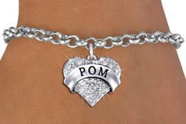 "<BR>      WHOLESALE POM JEWELRY<bR>                EXCLUSIVELY OURS!! <Br>           AN ALLAN ROBIN DESIGN!! <BR>  CLICK HERE TO SEE 1000+ EXCITING <BR>        CHANGES THAT YOU CAN MAKE! <BR>     LEAD, NICKEL & CADMIUM FREE!! <BR> W1411SB - SILVER TONE ""POM"" CLEAR <BR>    CRYSTAL HEART CHARM & BRACELET <BR>         FROM $5.40 TO $9.85 �2013"