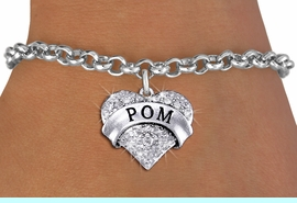 """<BR>      WHOLESALE POM JEWELRY<bR>                EXCLUSIVELY OURS!! <Br>           AN ALLAN ROBIN DESIGN!! <BR>  CLICK HERE TO SEE 1000+ EXCITING <BR>        CHANGES THAT YOU CAN MAKE! <BR>     LEAD, NICKEL & CADMIUM FREE!! <BR> W1411SB - SILVER TONE """"POM"""" CLEAR <BR>    CRYSTAL HEART CHARM & BRACELET <BR>         FROM $5.40 TO $9.85 �2013"""