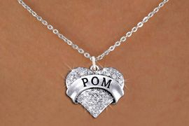 "<BR>            WHOLESALE POM NECKLACE<bR>                   EXCLUSIVELY OURS!! <Br>              AN ALLAN ROBIN DESIGN!! <BR>     CLICK HERE TO SEE 1000+ EXCITING <BR>           CHANGES THAT YOU CAN MAKE! <BR>        LEAD, NICKEL & CADMIUM FREE!! <BR>    W1411SN - SILVER TONE ""POM"" CLEAR <BR>     CRYSTAL HEART CHARM AND NECKLACE <BR>            FROM $5.40 TO $9.85 �2013"