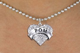 """<BR>            WHOLESALE POM NECKLACE<bR>                   EXCLUSIVELY OURS!! <Br>              AN ALLAN ROBIN DESIGN!! <BR>     CLICK HERE TO SEE 1000+ EXCITING <BR>           CHANGES THAT YOU CAN MAKE! <BR>        LEAD, NICKEL & CADMIUM FREE!! <BR>    W1411SN - SILVER TONE """"POM"""" CLEAR <BR>     CRYSTAL HEART CHARM AND NECKLACE <BR>            FROM $5.40 TO $9.85 �2013"""