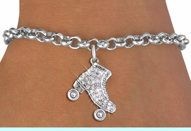 <BR>  WHOLESALE ROLLER SKATING JEWELRY <bR>                EXCLUSIVELY OURS!! <Br>           AN ALLAN ROBIN DESIGN!! <BR>  CLICK HERE TO SEE 1000+ EXCITING <BR>        CHANGES THAT YOU CAN MAKE! <BR>     LEAD, NICKEL & CADMIUM FREE!! <BR> W1493SB - SILVER TONE ROLLER SKATE <BR>    CLEAR CRYSTAL CHARM & BRACELET <BR>         FROM $5.40 TO $9.85 �2013