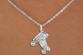 <BR>     WHOLESALE ROLLER SKATING JEWELRY <bR>                   EXCLUSIVELY OURS!! <Br>              AN ALLAN ROBIN DESIGN!! <BR>     CLICK HERE TO SEE 1000+ EXCITING <BR>           CHANGES THAT YOU CAN MAKE! <BR>        LEAD, NICKEL & CADMIUM FREE!! <BR>   W1493SN - SILVER TONE ROLLER SKATE <BR>     CLEAR CRYSTAL CHARM AND NECKLACE <BR>            FROM $5.40 TO $9.85 �2013