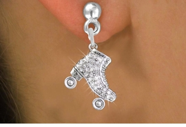 <BR> WHOLESALE ROLLER SKATING JEWELRY <bR>              EXCLUSIVELY OURS!! <Br>         AN ALLAN ROBIN DESIGN!! <BR>   LEAD, NICKEL & CADMIUM FREE!! <BR> W1493SE - SILVER TONE ROLLER SKATES <BR>    CLEAR CRYSTAL CHARM EARRINGS <BR>       FROM $5.40 TO $10.45 �2013