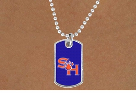 """<BR>WHOLESALE SAM HOUSTON JEWELRY<Br>               LEAD & NICKEL FREE!!<Br>         STERLING SILVER PLATED!!<bR>  W19124N - LICENSED SAM HOUSTON<Br>UNIVERSITY  """"BEARKATS"""" DOG TAG<br>    NECKLACE FROM $3.35 TO $7.50"""