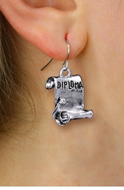 <br>       WHOLESALE SCHOOL EARRINGS <bR>                EXCLUSIVELY OURS!! <BR>           AN ALLAN ROBIN DESIGN!! <BR>     CADMIUM, LEAD & NICKEL FREE!! <BR>    W1433SE - DETAILED SILVER TONE <Br>     DIPLOMA SCROLL CHARM EARRINGS <BR>         FROM $4.50 TO $8.35 �2013