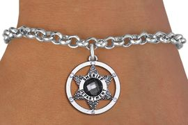<BR> WHOLESALE SHERIFF BRACELET JEWELRY<bR>                EXCLUSIVELY OURS!! <Br>           AN ALLAN ROBIN DESIGN!! <BR>  CLICK HERE TO SEE 1000+ EXCITING <BR>        CHANGES THAT YOU CAN MAKE! <BR>     LEAD, NICKEL & CADMIUM FREE!! <BR> W1469SB - SILVER TONE AND MARCASOTE <BR> CRYSTAL SHERIFF BADGE CHARM & BRACELET <BR>         FROM $5.40 TO $9.85 �2013