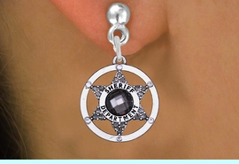 <BR>   WHOLESALE SHERIFF CHARM EARRINGS! <bR>              EXCLUSIVELY OURS!! <Br>         AN ALLAN ROBIN DESIGN!! <BR>   LEAD, NICKEL & CADMIUM FREE!! <BR> W1469SE - SILVER TONE AND MARCASITE <BR> CRYSTAL SHERIFF DEPT CHARM EARRINGS <BR>      FROM $4.95 TO $10.00 �2013