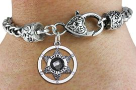 <bR> WHOLESALE SHERIFF DEPT CHARM BRACELET <BR>             EXCLUSIVELY OURS!! <BR>        AN ALLAN ROBIN DESIGN!! <BR>           LEAD & NICKEL FREE!! <BR> W1469SB - SILVER TONE AND MARCASITE <BR> CRYSTAL SHERIFF DEPT BADGE CHARM ON <BR>   HEART LOBSTER CLASP BRACELET <Br>     FROM $5.63 TO $12.50 �2013