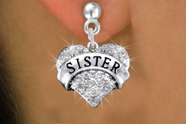 """<BR>      WHOLESALE SISTER EARRING<bR>              EXCLUSIVELY OURS!! <Br>         AN ALLAN ROBIN DESIGN!! <BR>   LEAD, NICKEL & CADMIUM FREE!! <BR>W1417SE - SILVER TONE """"SISTER"""" CLEAR <BR>    CRYSTAL HEART CHARM EARRINGS <BR>      FROM $4.95 TO $10.00 �2013"""