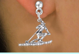 <BR>    WHOLESALE SKI CHARM EARRINGS <bR>              EXCLUSIVELY OURS!! <Br>         AN ALLAN ROBIN DESIGN!! <BR>   LEAD, NICKEL & CADMIUM FREE!! <BR> W1494SE - SILVER TONE SKIER SKIING <BR>    CLEAR CRYSTAL CHARM EARRINGS <BR>       FROM $5.40 TO $10.45 �2013