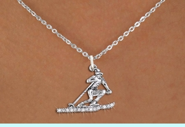 <BR>      WHOLESALE SKIING CHARM JEWELRY <bR>                   EXCLUSIVELY OURS!! <Br>              AN ALLAN ROBIN DESIGN!! <BR>     CLICK HERE TO SEE 1000+ EXCITING <BR>           CHANGES THAT YOU CAN MAKE! <BR>        LEAD, NICKEL & CADMIUM FREE!! <BR>   W1494SN - SILVER TONE SKIER SKIING <BR>     CLEAR CRYSTAL CHARM AND NECKLACE <BR>            FROM $5.40 TO $9.85 �2013