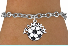"""<br>      WHOLESALE SOCCER CHARM BRACELET <bR>                     EXCLUSIVELY OURS!! <BR>                AN ALLAN ROBIN DESIGN!! <BR>       CLICK HERE TO SEE 1000+ EXCITING <BR>             CHANGES THAT YOU CAN MAKE! <BR>          CADMIUM, LEAD & NICKEL FREE!! <BR>        W1490SB - DETAILED SILVER TONE <Br> """"TEAM MOM"""" SOCCER CHARM & BRACELET <BR>              FROM $4.50 TO $8.35 �2013"""