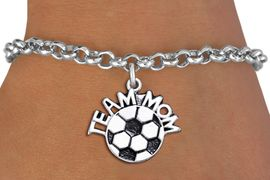 """<br>      WHOLESALE SOCCER CHARM BRACELET <bR>                     EXCLUSIVELY OURS!! <BR>                AN ALLAN ROBIN DESIGN!! <BR>       CLICK HERE TO SEE 1000+ EXCITING <BR>             CHANGES THAT YOU CAN MAKE! <BR>          CADMIUM, LEAD & NICKEL FREE!! <BR>        W1490SB - DETAILED SILVER TONE <Br> """"TEAM MOM"""" SOCCER CHARM & BRACELET <BR>              FROM $4.15 TO $8.00 �2013"""