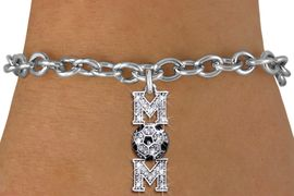 """<BR>  WHOLESALE SOCCER CHARM BRACELET <bR>                 EXCLUSIVELY OURS!! <Br>            AN ALLAN ROBIN DESIGN!! <BR>   CLICK HERE TO SEE 1000+ EXCITING <BR>         CHANGES THAT YOU CAN MAKE! <BR>      LEAD, NICKEL & CADMIUM FREE!! <BR> W1474SB - SILVER TONE SOCCER """"MOM"""" <BR>     CLEAR CRYSTAL CHARM & BRACELET <BR>          FROM $5.40 TO $9.85 �2013"""
