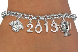 """<br>    WHOLESALE SOCCER CHARM BRACELET! <Br>                      EXCLUSIVELY OURS!! <Br>                 AN ALLAN ROBIN DESIGN!! <Br>                    LEAD & NICKEL FREE!! <BR>             THIS IS A PERSONALIZED ITEM <Br>     W20471B - SILVER TONE LOBSTER CLASP <BR>    """"SOCCER"""", #1 TROPHY AND CUSTOM YEAR <BR>     BRACELET FROM $9.00 TO $20.00 �2013"""
