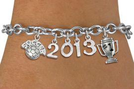"""<br>    WHOLESALE SOCCER CHARM BRACELET! <Br>                      EXCLUSIVELY OURS!! <Br>                 AN ALLAN ROBIN DESIGN!! <Br>                    LEAD & NICKEL FREE!! <BR>             THIS IS A PERSONALIZED ITEM <Br>     W20472B - SILVER TONE TOGGLE CLASP <BR>    """"SOCCER"""", #1 TROPHY AND CUSTOM YEAR <BR>     BRACELET FROM $9.00 TO $20.00 �2013"""