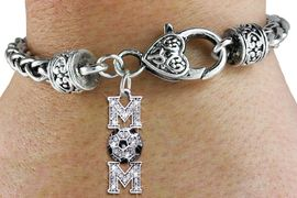 """<bR>     WHOLESALE SOCCER HEART BRACELET <BR>                    EXCLUSIVELY OURS!! <BR>               AN ALLAN ROBIN DESIGN!! <BR>       LEAD, CADMIUM, & NICKEL FREE!! <BR>    W1474SB - SILVER TONE SOCCER """"MOM""""<BR>CLEAR CRYSTAL AND BLACK ACCENTS CHARM <BR>       ON HEART LOBSTER CLASP BRACELET <Br>                FROM $5.63 TO $12,50 �2013"""