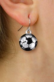 <BR>      WHOLESALE SOCCER JEWELRY<bR>            EXCLUSIVELY OURS!! <BR>       AN ALLAN ROBIN DESIGN!! <BR> CADMIUM, LEAD & NICKEL FREE!! <BR> W1423SE - SILVER TONE AND BLACK <Br> MINI SOCCER BALL CHARM EARRINGS <BR>     FROM $4.50 TO $8.35 �2013