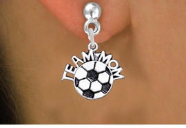 """<br>          WHOLESALE SOCCER JEWELRY!! <bR>                  EXCLUSIVELY OURS!! <BR>             AN ALLAN ROBIN DESIGN!! <BR>       CADMIUM, LEAD & NICKEL FREE!! <BR>      W1490SE - DETAILED SILVER TONE <Br> """"TEAM MOM"""" SOCCER CHARM EARRINGS <BR>           FROM $3.65 TO $8.40 �2013"""